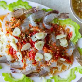 กุ้งแช่น้ำปลา อาหารทะเลเดลิเวอรี่
